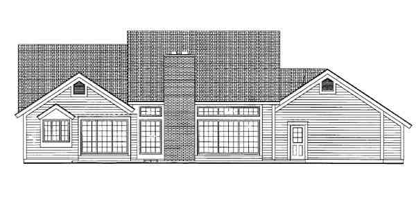 Ranch House Plan 95267 with 3 Beds, 2 Baths, 2 Car Garage Rear Elevation