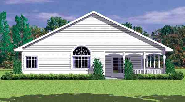 Ranch House Plan 95273 with 4 Beds, 4 Baths Rear Elevation