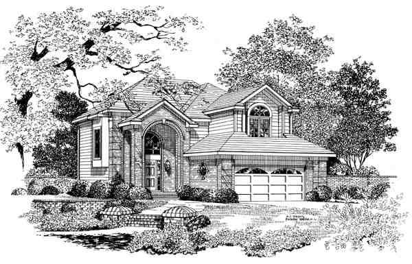 European House Plan 95275 with 4 Beds, 3 Baths, 2 Car Garage Elevation