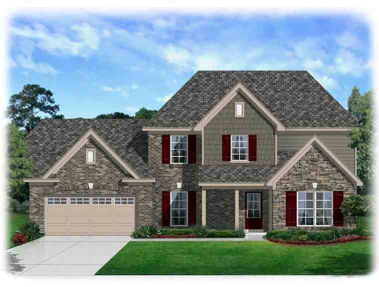 Traditional House Plan 95339 with 4 Beds, 3 Baths, 2 Car Garage Elevation