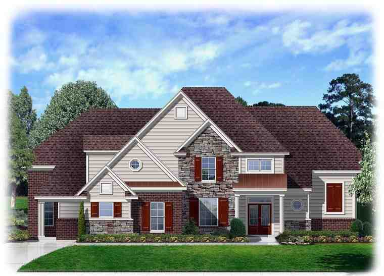 Traditional House Plan 95345 with 4 Beds, 3 Baths, 3 Car Garage Elevation