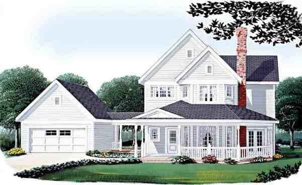 Country, Farmhouse, Victorian House Plan 95569 with 3 Beds, 3 Baths, 2 Car Garage Elevation