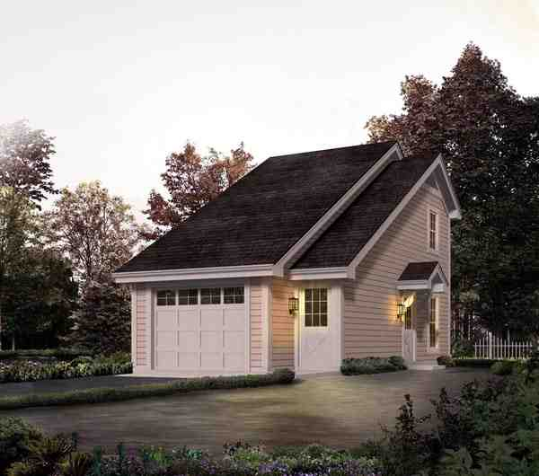 Country, Saltbox 1 Car Garage Apartment Plan 95826 with 1 Beds, 1 Baths Elevation