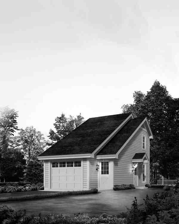 Country, Saltbox 1 Car Garage Apartment Plan 95826 with 1 Beds, 1 Baths Picture 3