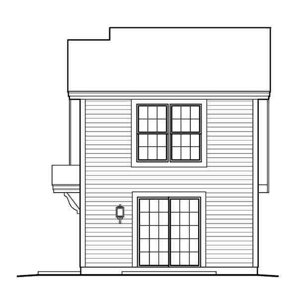 Country, Saltbox 1 Car Garage Apartment Plan 95826 with 1 Beds, 1 Baths Rear Elevation