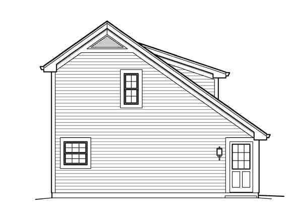 Cabin, Cottage, Country, Saltbox, Traditional 1 Car Garage Apartment Plan 95833 with 1 Beds, 1 Baths Picture 1