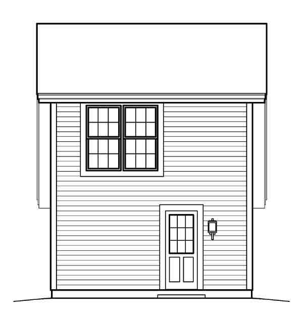 Cabin, Cottage, Country, Saltbox, Traditional 1 Car Garage Apartment Plan 95833 with 1 Beds, 1 Baths Rear Elevation