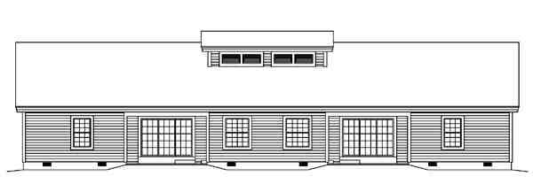 Contemporary, Country, Ranch Multi-Family Plan 95861 with 4 Beds, 2 Baths Rear Elevation