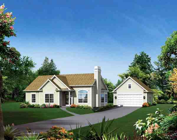 Cape Cod, Country, Ranch, Traditional House Plan 95896 with 3 Beds, 2 Baths, 2 Car Garage Elevation
