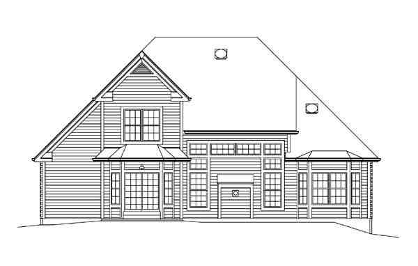 Country, Craftsman, Traditional House Plan 95898 with 3 Beds, 3 Baths, 2 Car Garage Rear Elevation