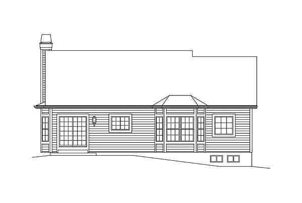 Ranch, Traditional House Plan 95973 with 3 Beds, 2 Baths, 2 Car Garage Rear Elevation