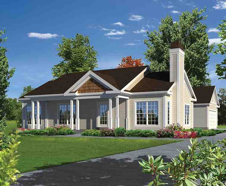 Ranch, Traditional House Plan 95979 with 3 Beds, 2 Baths, 2 Car Garage Elevation
