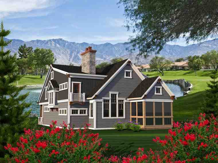 Traditional House Plan 96165 with 4 Beds, 3 Baths, 2 Car Garage Rear Elevation
