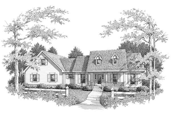 Farmhouse, One-Story House Plan 96556 with 3 Beds, 3 Baths, 2 Car Garage Elevation