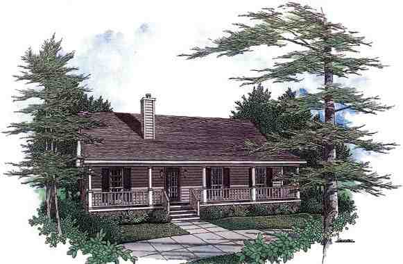 Cabin, Country, Ranch House Plan 96559 with 3 Beds, 2 Baths Elevation
