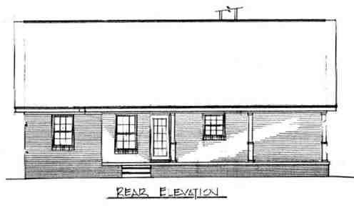 Cabin, Country, Ranch House Plan 96559 with 3 Beds, 2 Baths Rear Elevation