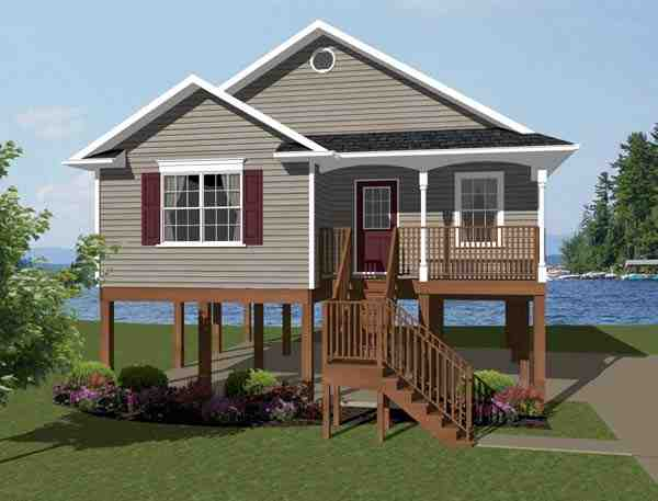 Coastal, Southern House Plan 96703 with 2 Beds, 1 Baths Elevation