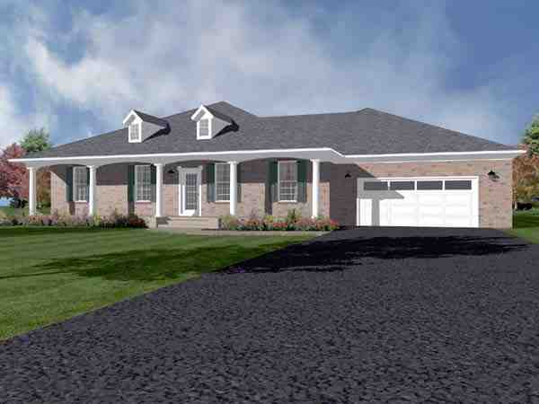 Traditional House Plan 96706 with 4 Beds, 3 Baths, 2 Car Garage Elevation