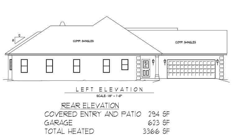 Traditional House Plan 96817 with 5 Beds, 4 Baths, 2 Car Garage Picture 1
