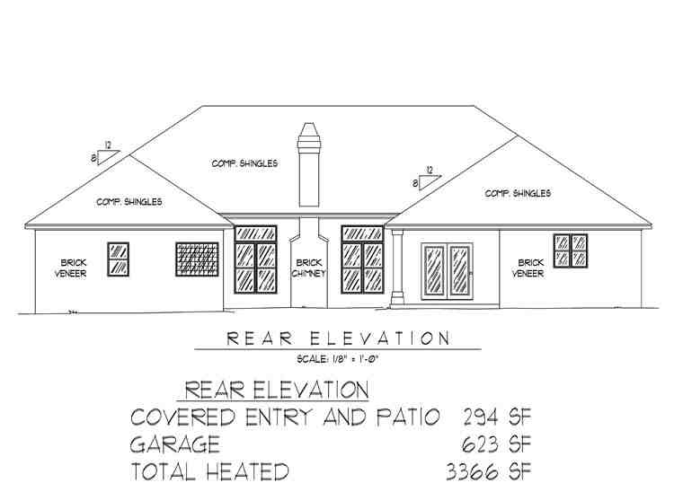 Traditional House Plan 96817 with 5 Beds, 4 Baths, 2 Car Garage Rear Elevation