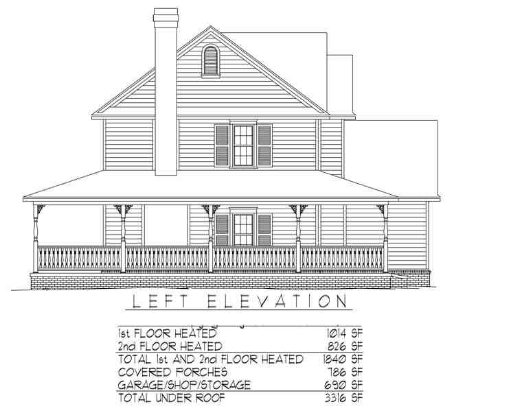Country, Farmhouse House Plan 96819 with 3 Beds, 3 Baths, 2 Car Garage Picture 1