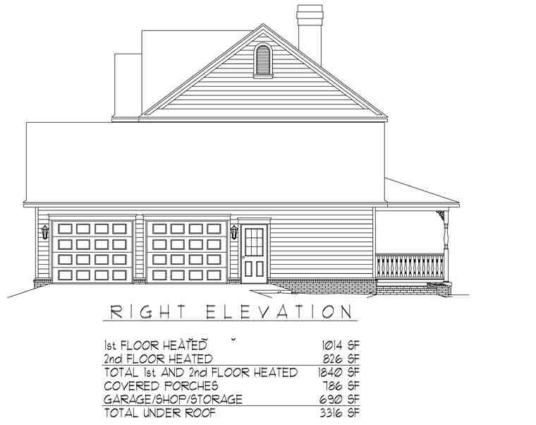 Country, Farmhouse House Plan 96819 with 3 Beds, 3 Baths, 2 Car Garage Picture 2