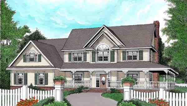 Country, Farmhouse House Plan 96838 with 4 Beds, 3 Baths, 3 Car Garage Elevation