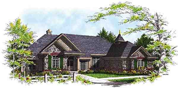 Bungalow, One-Story, Traditional House Plan 97119 with 3 Beds, 4 Baths, 3 Car Garage Elevation