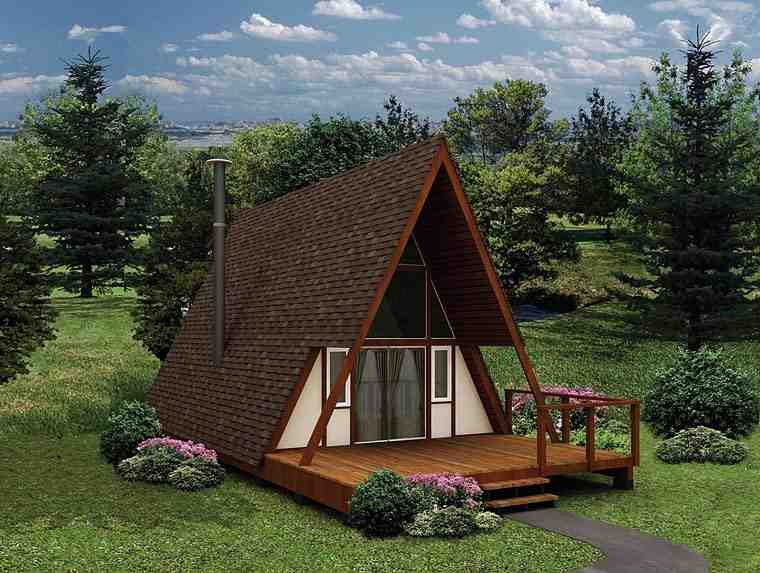 A-Frame, Contemporary House Plan 97201 with 1 Beds, 1 Baths Elevation