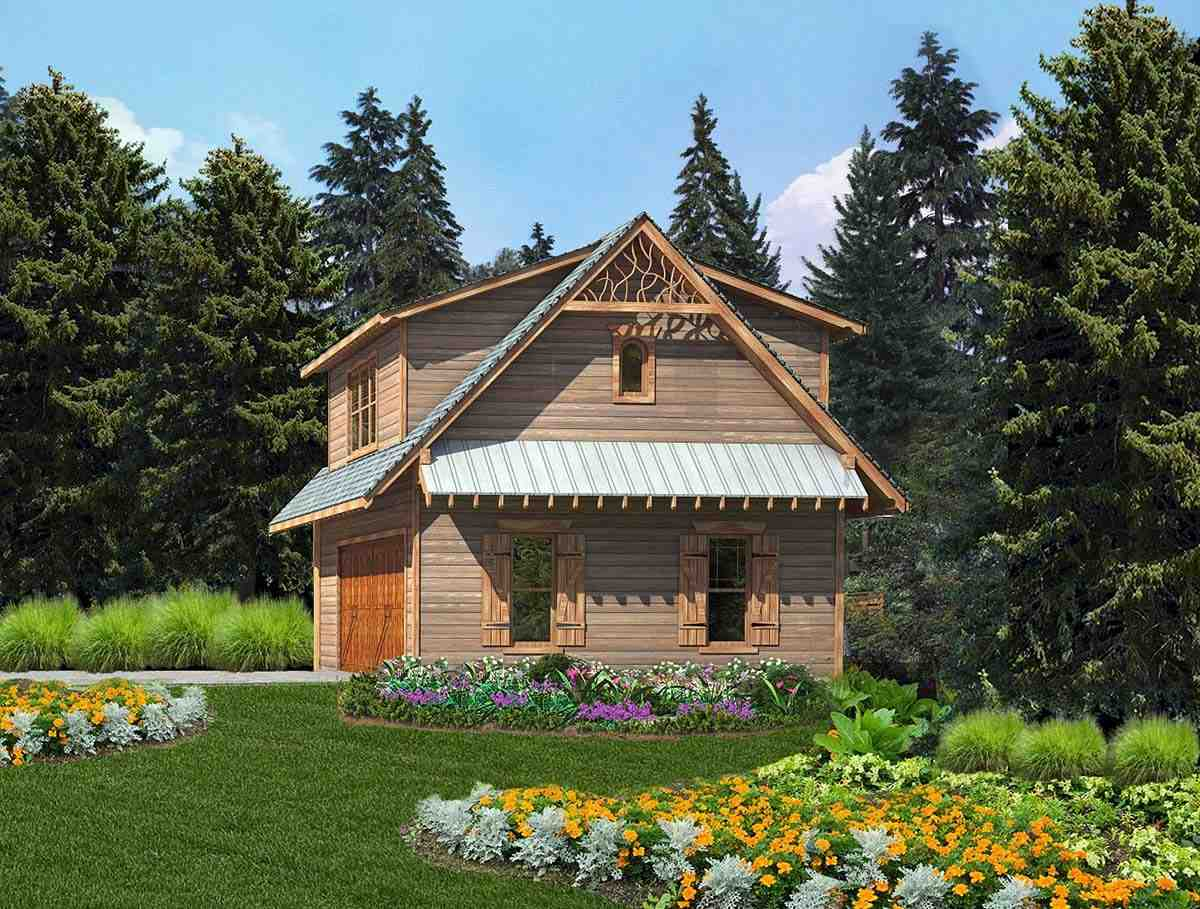 Cabin, Cottage, Craftsman 2 Car Garage Apartment Plan 97643 with 1 Beds, 1 Baths Elevation
