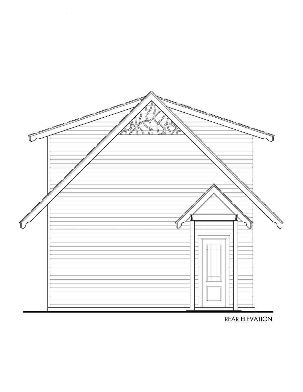 Cabin, Cottage, Craftsman 2 Car Garage Apartment Plan 97643 with 1 Beds, 1 Baths Rear Elevation