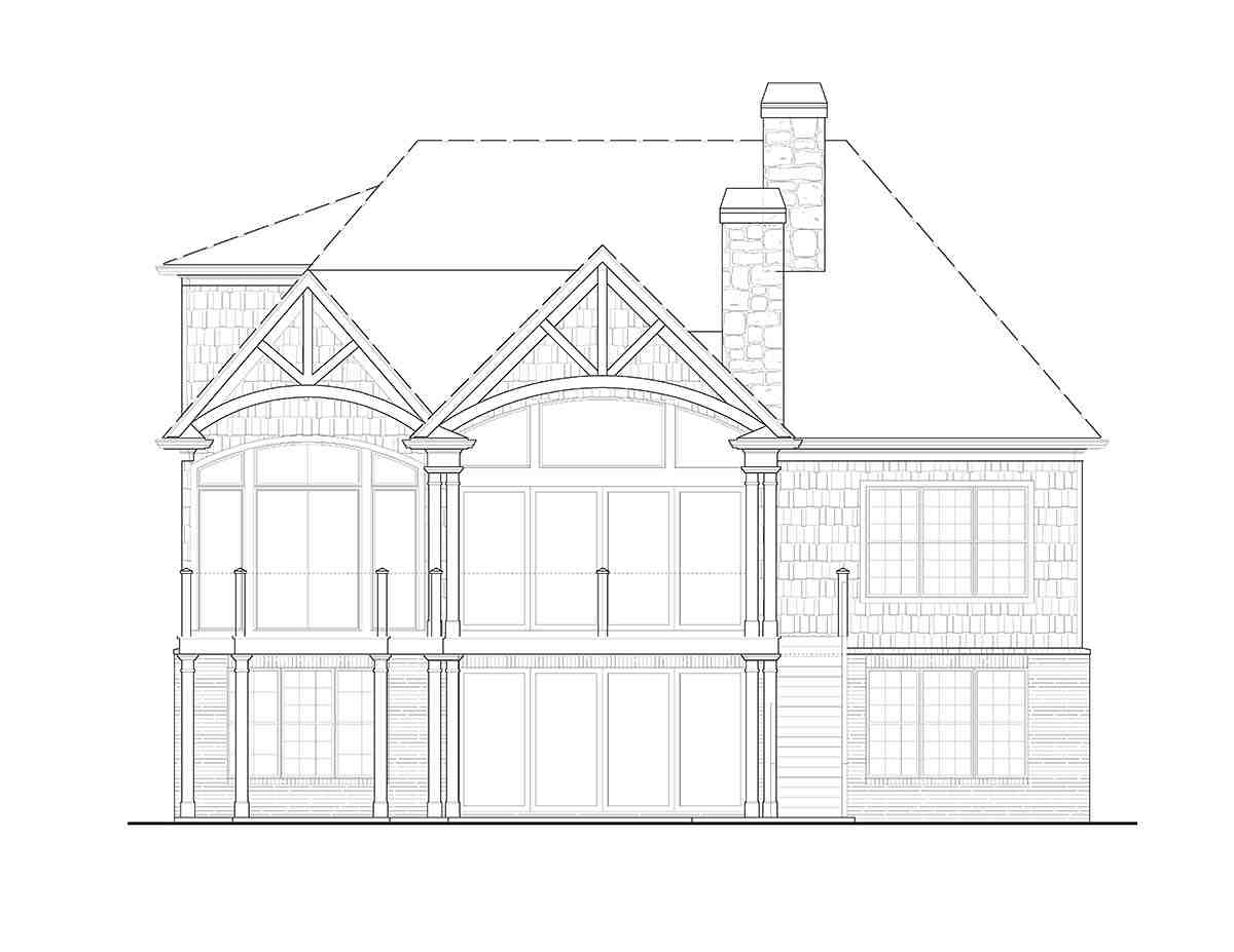 Country, Craftsman, Farmhouse, Ranch House Plan 97658 with 3 Beds, 3 Baths, 3 Car Garage Rear Elevation
