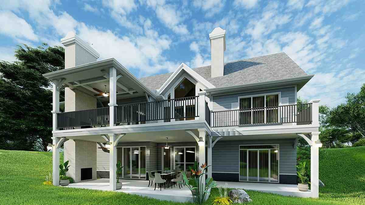 Cottage, Craftsman, One-Story House Plan 97683 with 3 Beds, 2 Baths, 2 Car Garage Rear Elevation
