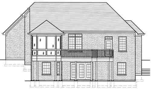 Traditional House Plan 97774 with 3 Beds, 4 Baths, 2 Car Garage Rear Elevation