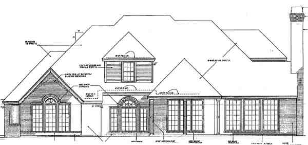 European, French Country House Plan 98537 with 4 Beds, 4 Baths, 3 Car Garage Rear Elevation