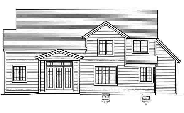 Country, Craftsman, Traditional House Plan 98677 with 3 Beds, 3 Baths, 2 Car Garage Rear Elevation