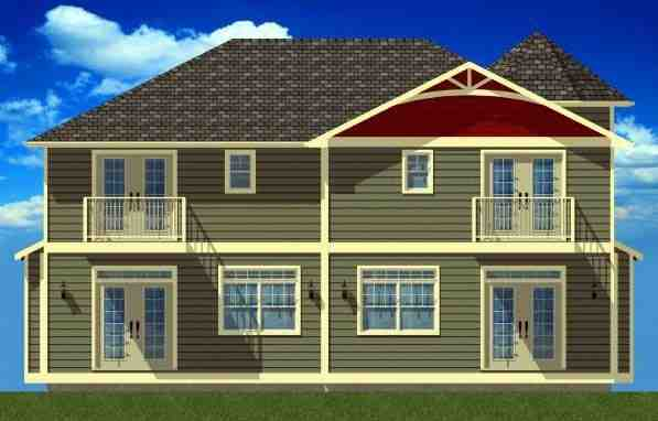 Victorian Multi-Family Plan 99938 with 6 Beds, 6 Baths Rear Elevation