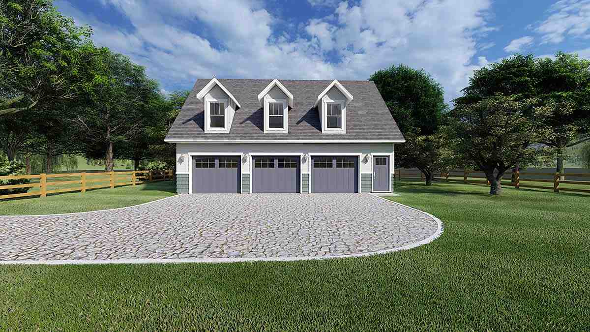 3 Car Garage Apartment Plan 99939 with 2 Beds, 2 Baths Elevation