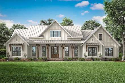 Country, Craftsman, Farmhouse House Plan 56700 with 3 Beds, 3 Baths, 2 Car Garage Elevation
