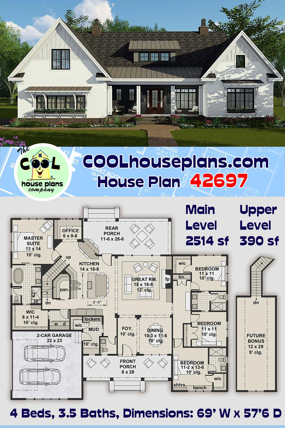 Country, Craftsman, Farmhouse House Plan 42697 with 4 Beds, 4 Baths, 2 Car Garage