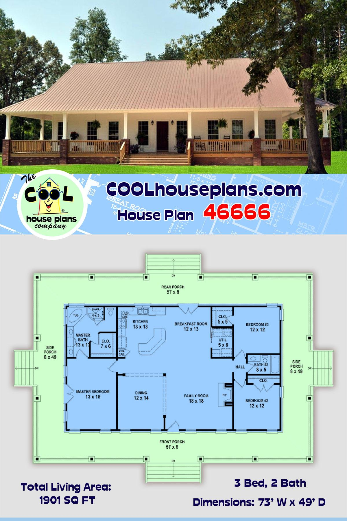 Country, Farmhouse, Ranch, Southern House Plan 46666 with 3 Beds, 2 Baths