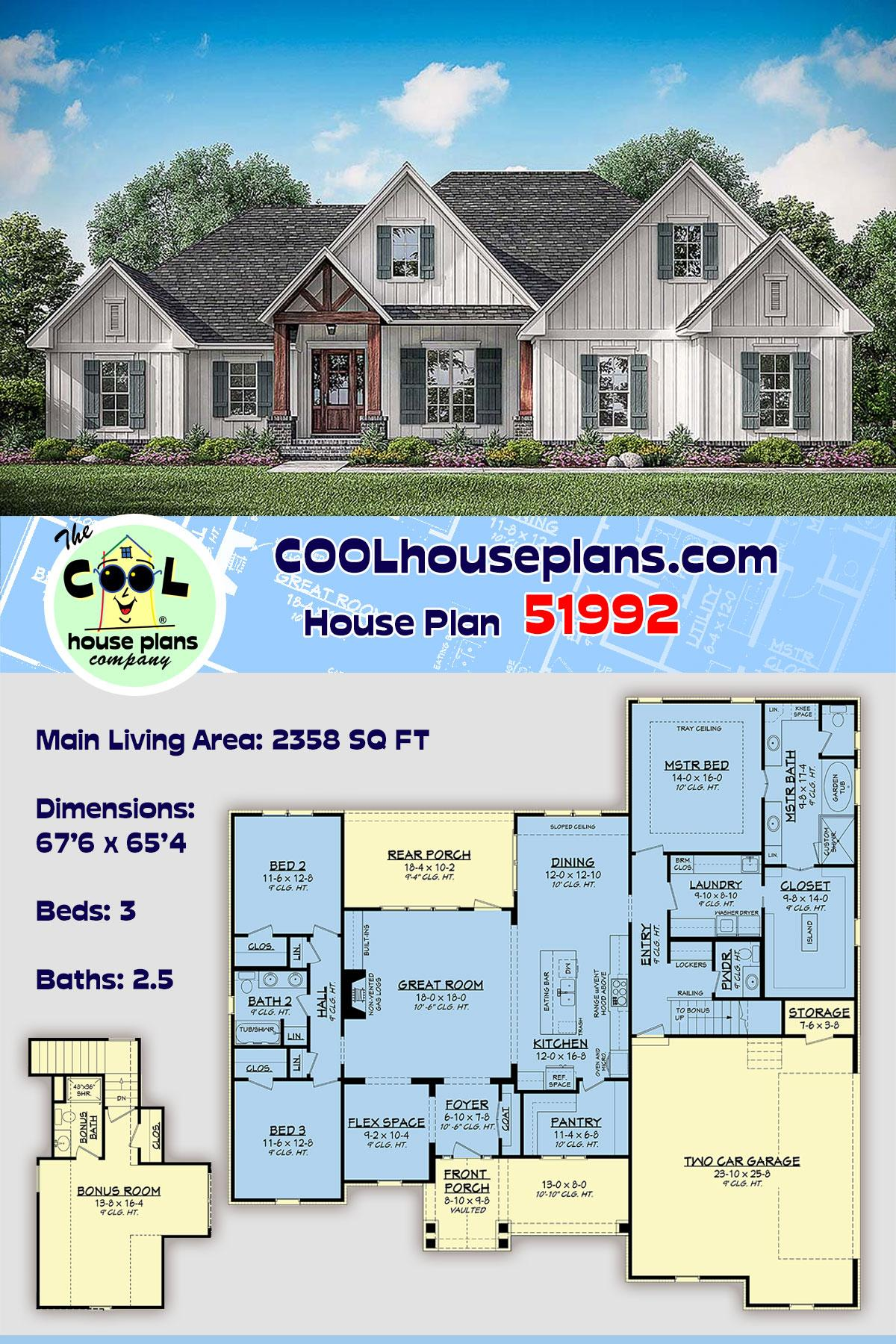 Country, Craftsman, Farmhouse House Plan 51992 with 3 Beds, 3 Baths, 2 Car Garage