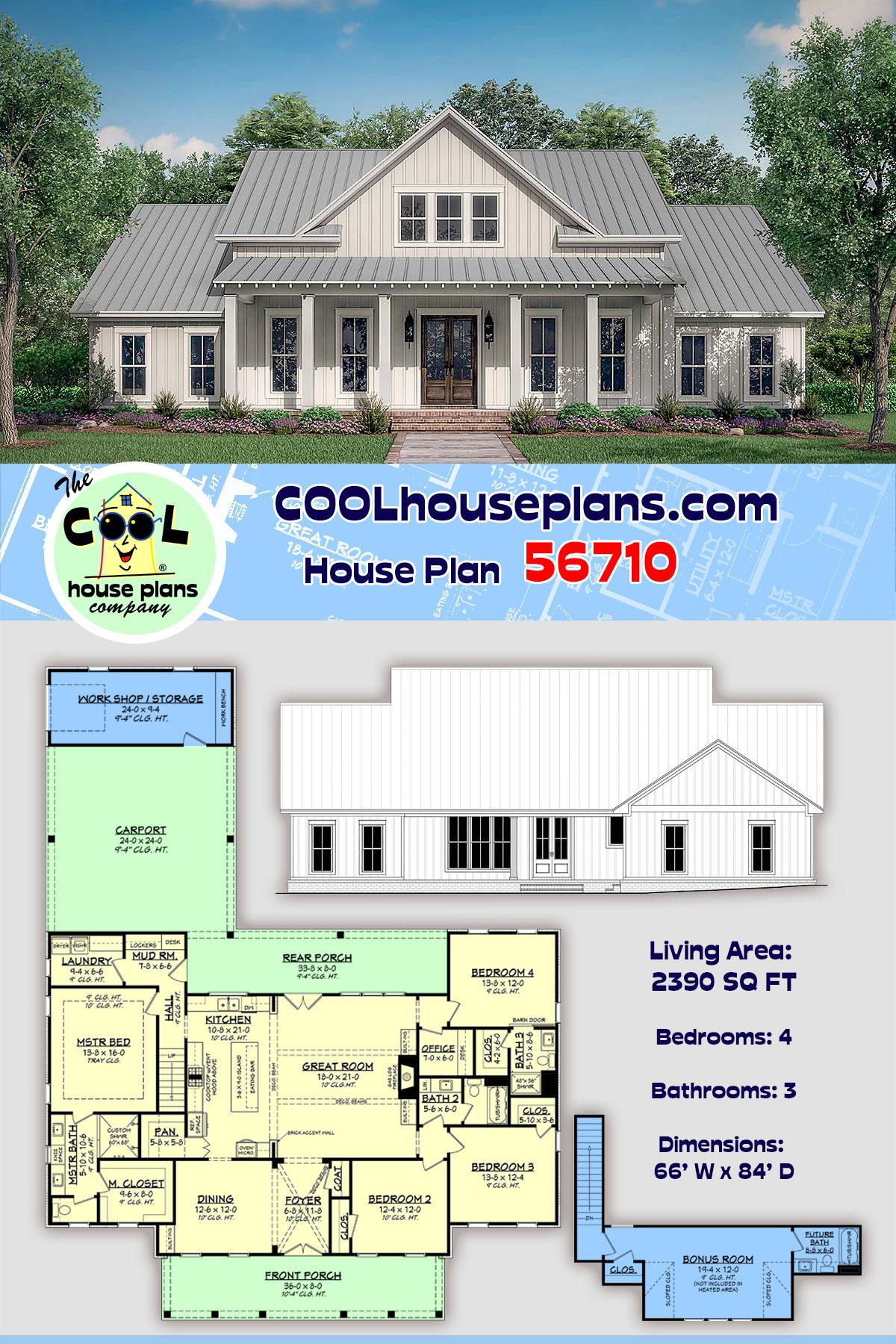 Country, Farmhouse, One-Story, Traditional House Plan 56710 with 4 Beds, 3 Baths, 2 Car Garage