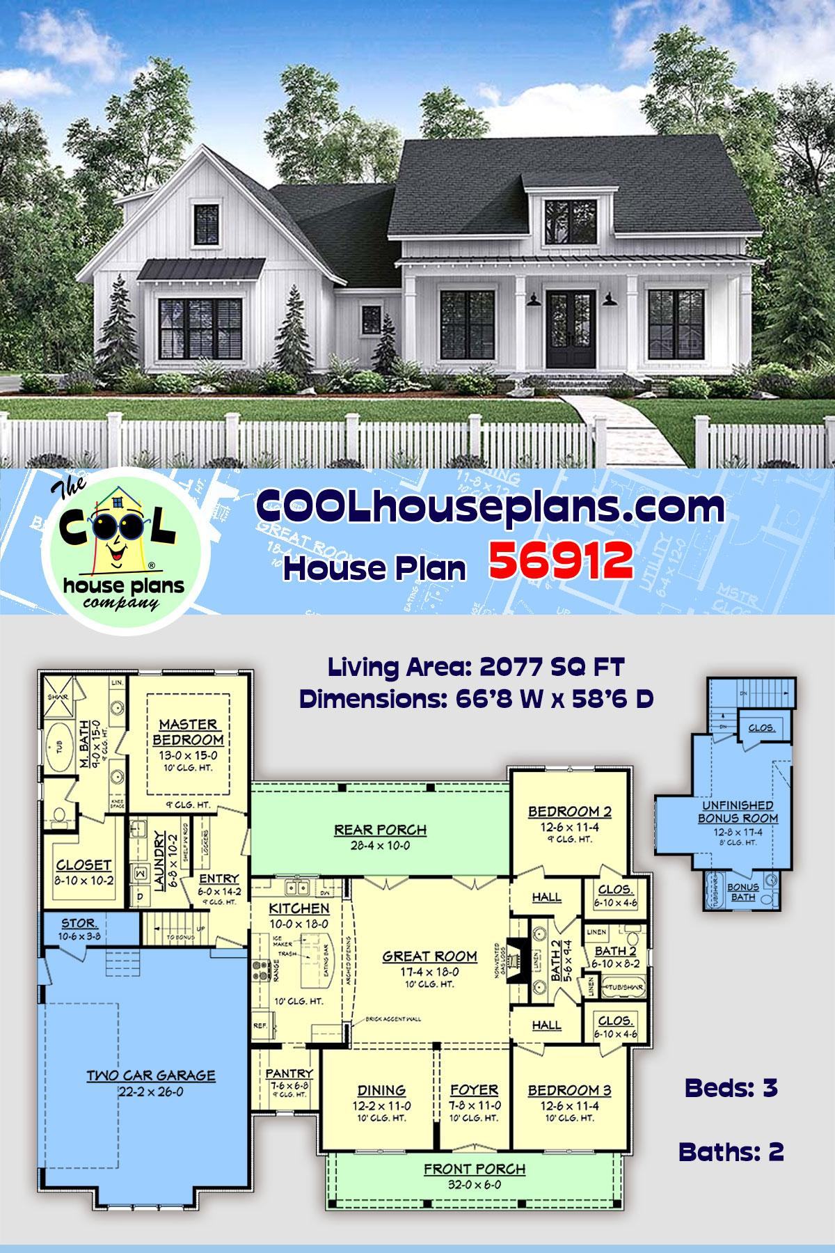 Country, Craftsman, Farmhouse House Plan 56912 with 3 Beds, 2 Baths, 2 Car Garage