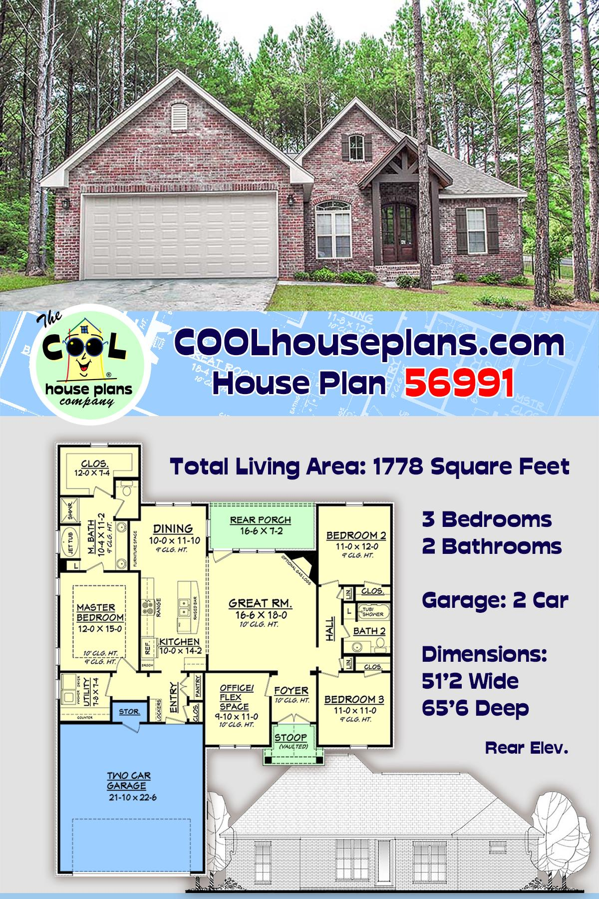 Country, French Country, Traditional House Plan 56991 with 3 Beds, 2 Baths, 2 Car Garage