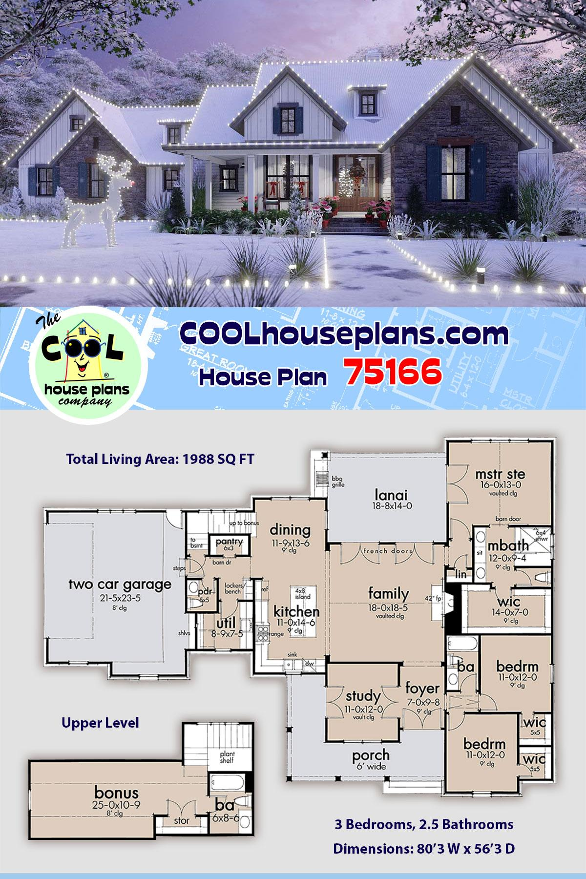 Cottage, Farmhouse, Southern, Traditional House Plan 75166 with 3 Beds, 3 Baths, 2 Car Garage