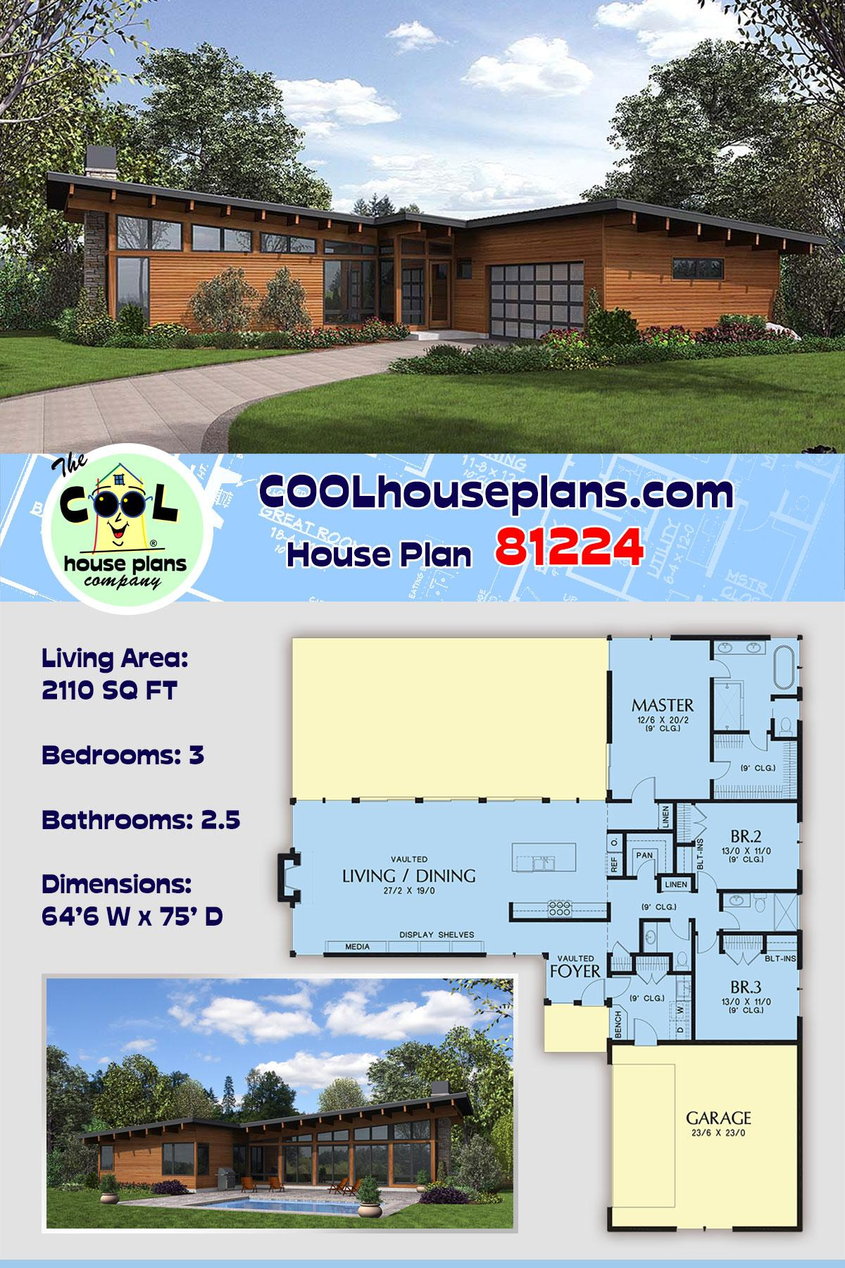 Contemporary House Plan 81224 with 3 Beds, 3 Baths, 2 Car Garage