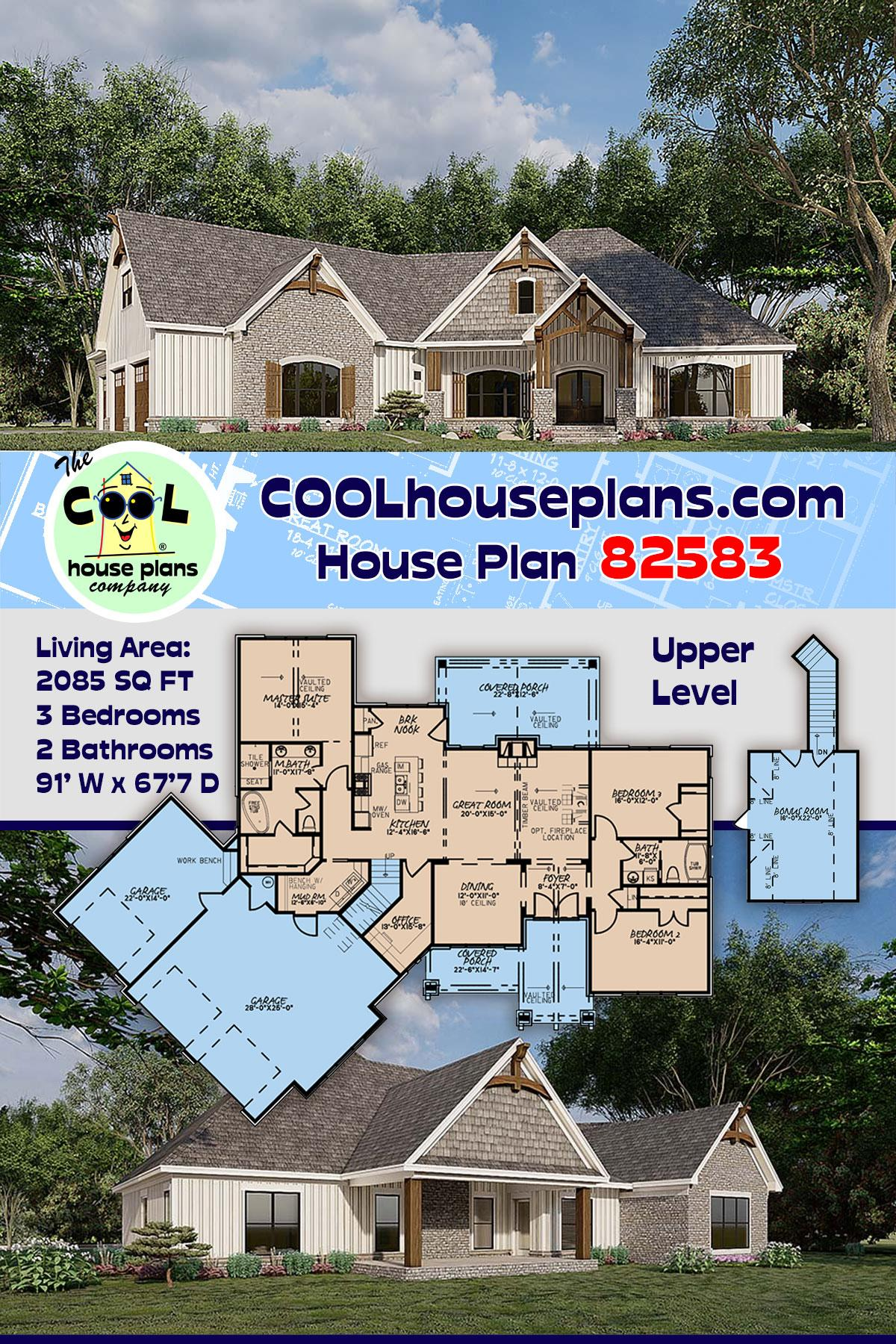 Bungalow, Craftsman, French Country House Plan 82583 with 3 Beds, 2 Baths, 3 Car Garage