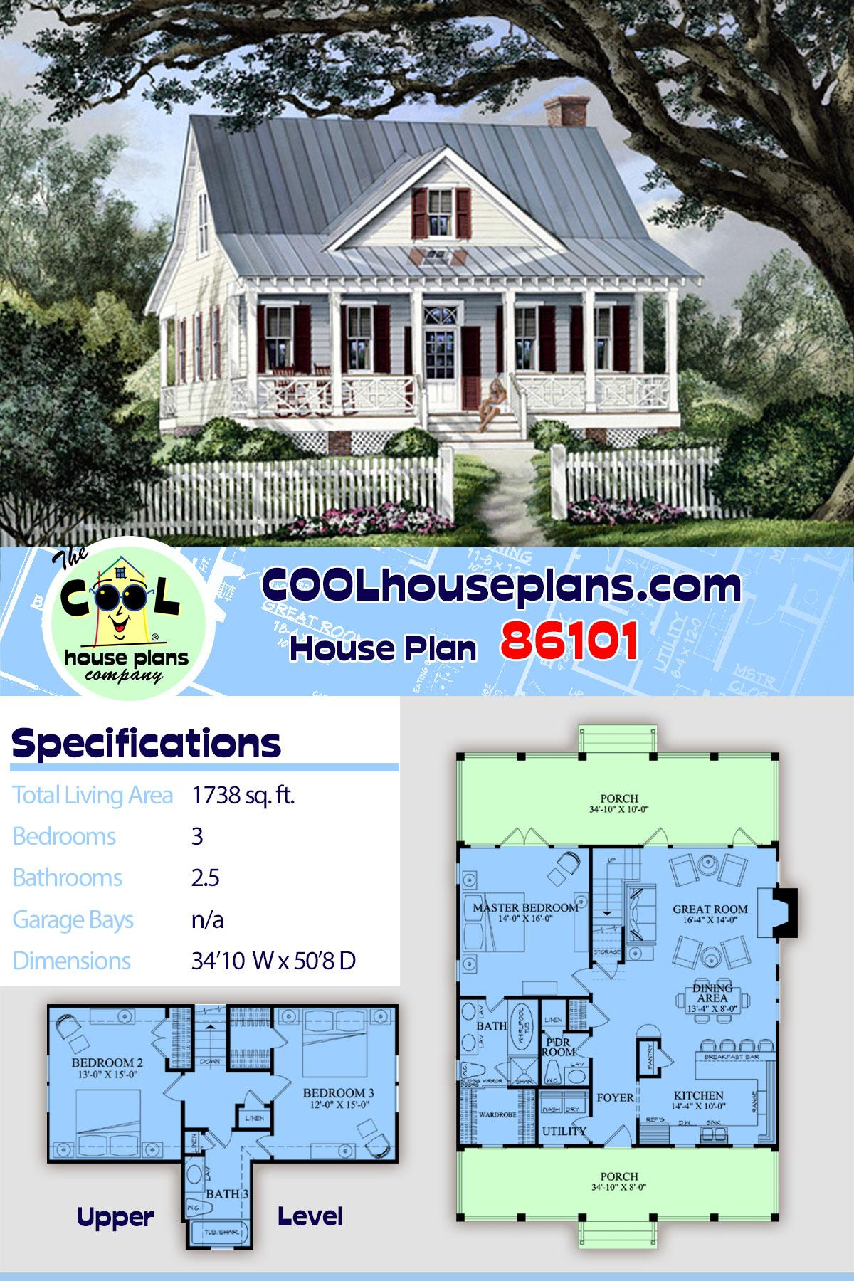 Cape Cod, Cottage, Country, Southern House Plan 86101 with 3 Beds, 3 Baths