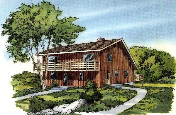Contemporary, Retro House Plan 10328 with 2 Beds, 2 Baths Elevation
